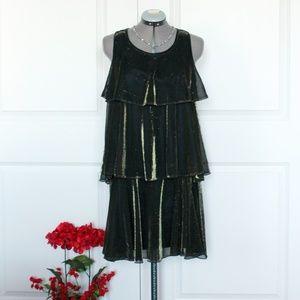 Dresses & Skirts - Tiered Shimmer Metallic Cocktail Dress